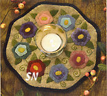 Little Stitchies #139 Flowers Candle Mat Pattern from Bareroots -- click to see more