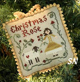 Christmas Rose, #4 of 2015 The Sampler Tree Ornament Series from Little House Needleworks -- click to see more