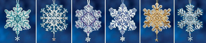 Snow Crystals Mini-Ornament Kits from Mill Hill - click for more