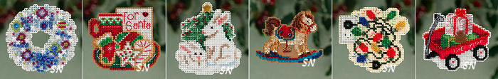 Mill Hill's Winter Holiday Mini Ornament-Magnet Kits for 2013 - click for more