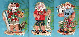 Christmas 2012 Tropical Santas Mini-Ornament Kits from Mill Hill - click for more