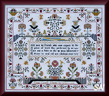 Fanny Covell 1790 Sampler from Queenstown Samplers - click to see more
