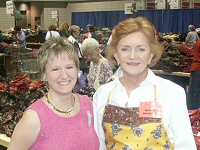 Lindy with Barbara Bradley Baekgaard, one of the co-founders of Vera Bradley