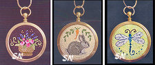 Three Pendants... Rose Bowl, Baby Carrots & Dragonfly by Teresa Layman -- click to see more