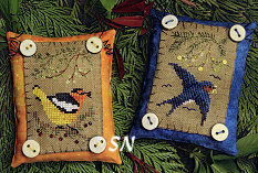 Button Up Birdies #8 - Oriole and Barn Swallow from The Victoria Sampler - click for more